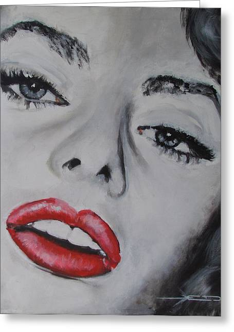 Sophia Loren Greeting Card by Eric Dee