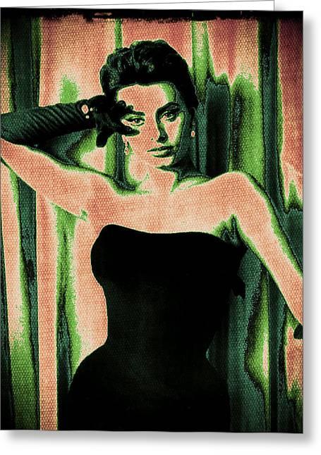 Sophia Loren - Green Pop Art Greeting Card