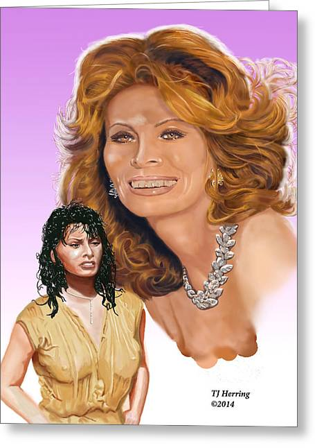 Greeting Card featuring the digital art Sophia Loren by Thomas J Herring