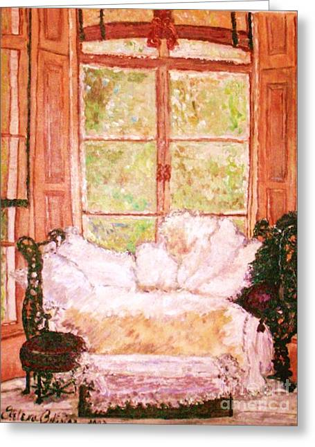 Greeting Card featuring the painting Sophia's Sofa by Helena Bebirian