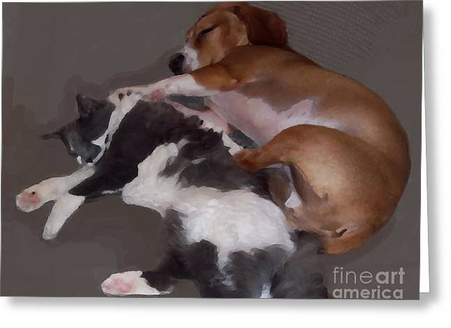 Sophie And Oliver Spooning Greeting Card