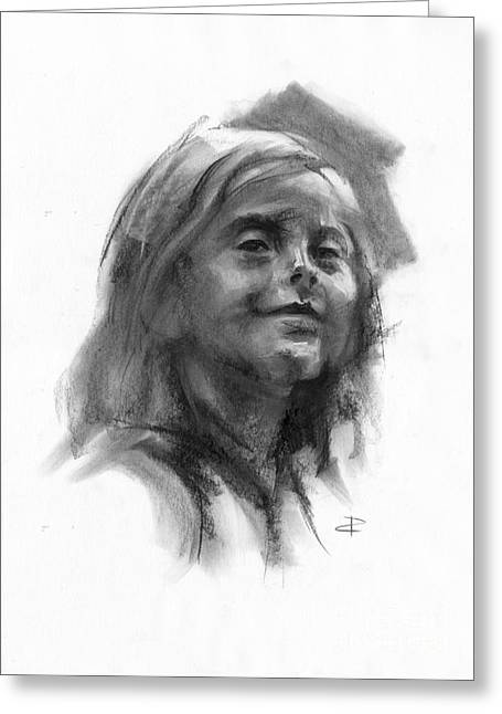 Greeting Card featuring the drawing Sophie by Paul Davenport