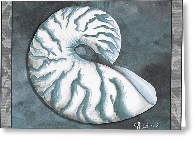 Sophisticated Coastal Art Original Sea Shell Painting Beachy Nautilus By Megan Duncanson Of Madart Greeting Card