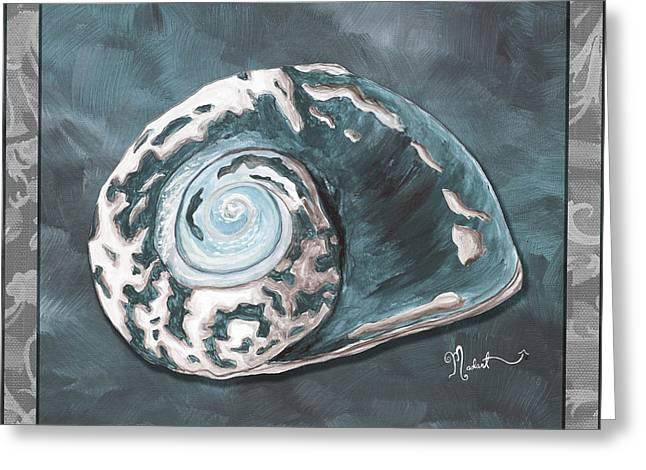 Sophisticated Coastal Art Original Sea Shell Painting Beachy Sea Snail By Megan Duncanson Of Madart Greeting Card by Megan Duncanson