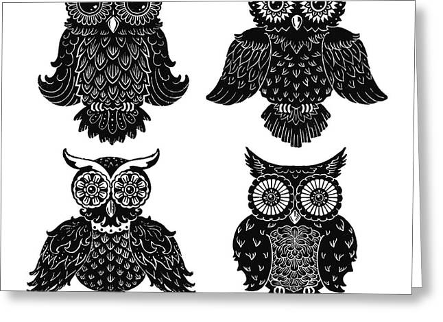 Sophisticated Owls All 4 Greeting Card by Kyle Wood