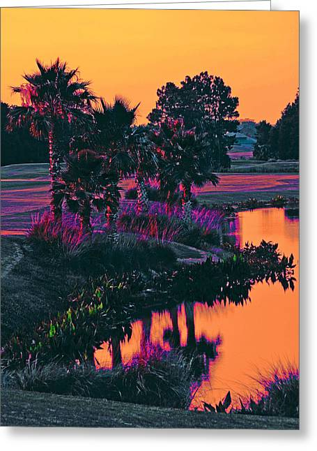 Sorbet Sunset Greeting Card by DigiArt Diaries by Vicky B Fuller