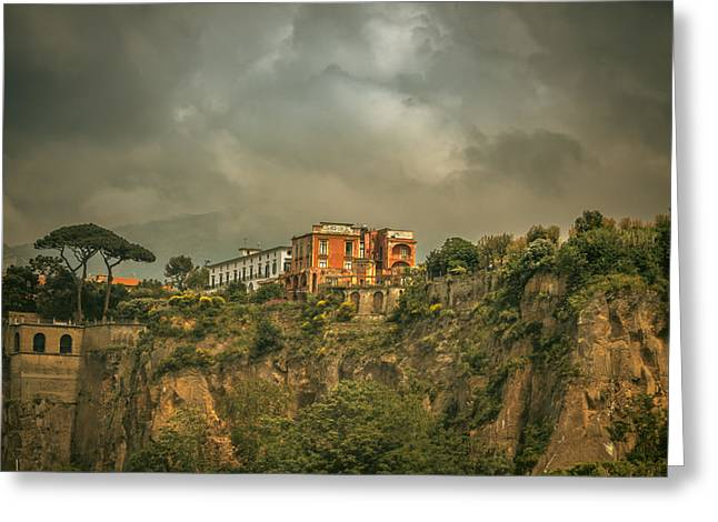 Sorrento Cliff Top Residence Greeting Card by Chris Fletcher