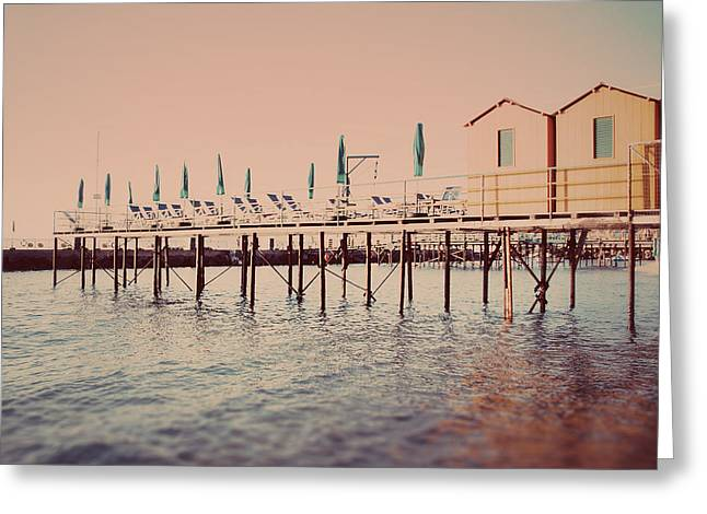 Sorrento Pier Greeting Card by Nastasia Cook