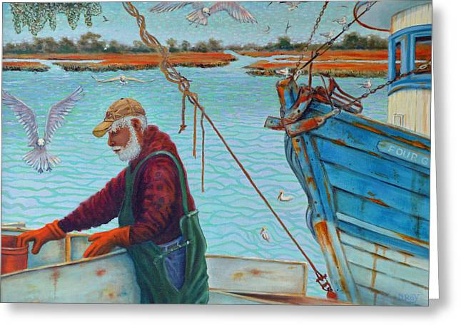 Sorting Shrimp At Frogmore 2 Greeting Card by Dwain Ray