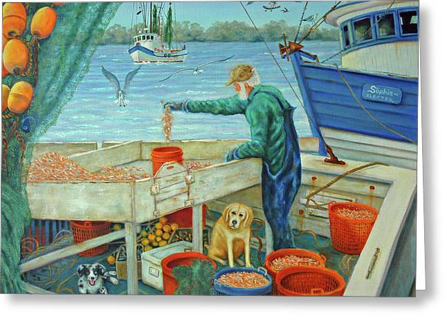 Sorting Shrimp At Frogmore Greeting Card by Dwain Ray