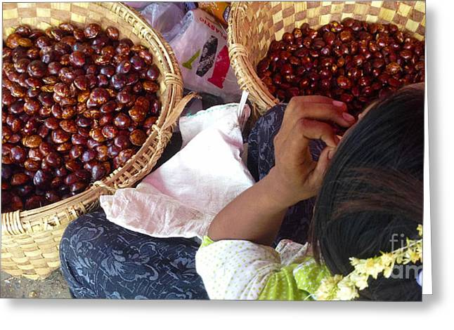 Greeting Card featuring the photograph Sorting Water Chestnuts Zay Cho Street Market 29th Street Mandalay Burma by Ralph A  Ledergerber-Photography