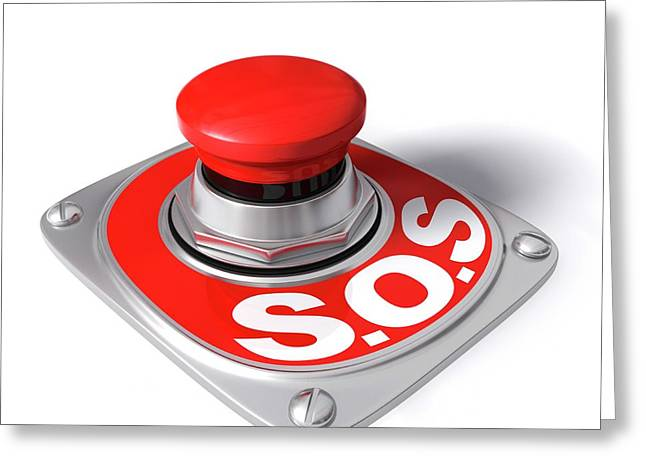 Sos Button Greeting Card by Ktsdesign/science Photo Library