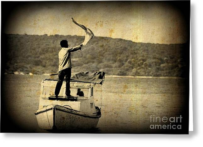 Sos   Need Gas To Get To Shore Greeting Card by John Malone