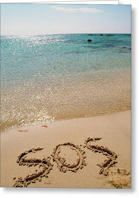 Sos Written On A Deserted Beach Greeting Card by Ashley Cooper