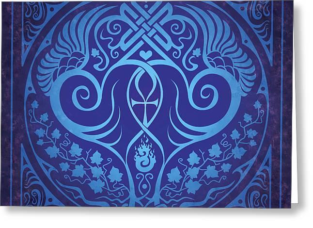 Soul Mates - Blue Greeting Card by Cristina McAllister