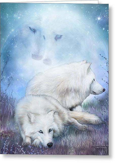 Soul Mates - White Wolves Greeting Card by Carol Cavalaris