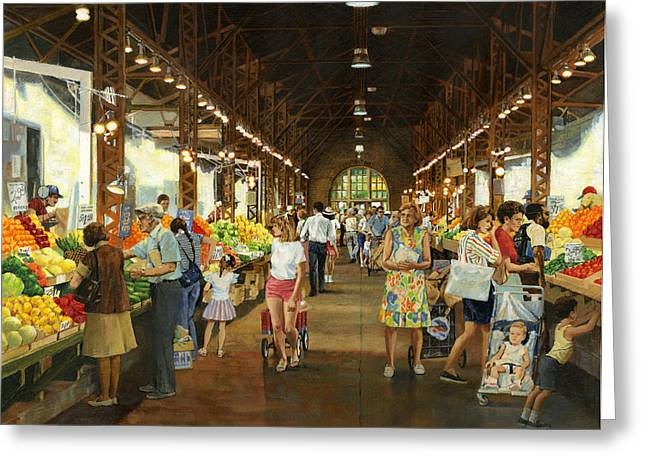 Soulard Market Girl Pulling Wagon Greeting Card