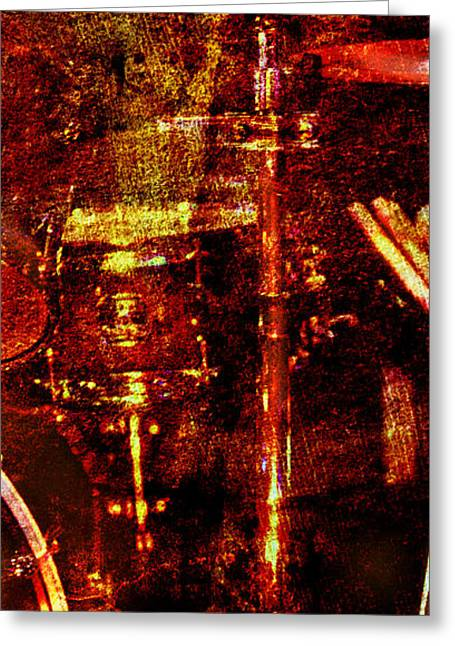 Greeting Card featuring the photograph Sound Bites Niche Art Drumset by Bob Coates