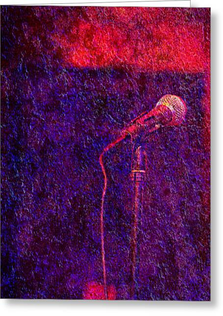Greeting Card featuring the photograph Sound Bites Niche Art Microphone by Bob Coates