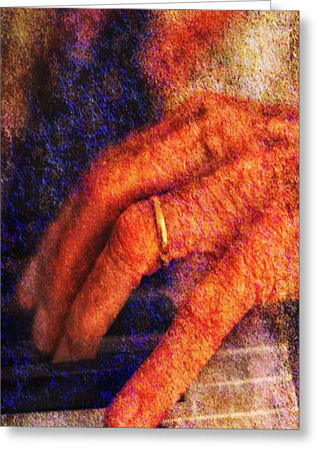Greeting Card featuring the photograph Sound Bites Niche Art The Hands Of Joel by Bob Coates