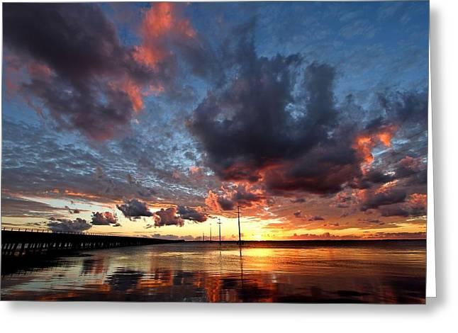 Sound Sunset Greeting Card by Stephanie Tomlinson