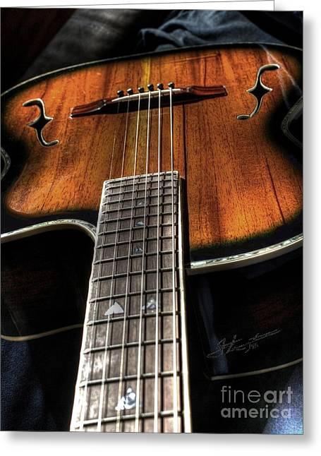 Sounding Off Digital Guitar Art Bt Steven Langston Greeting Card by Steven Lebron Langston