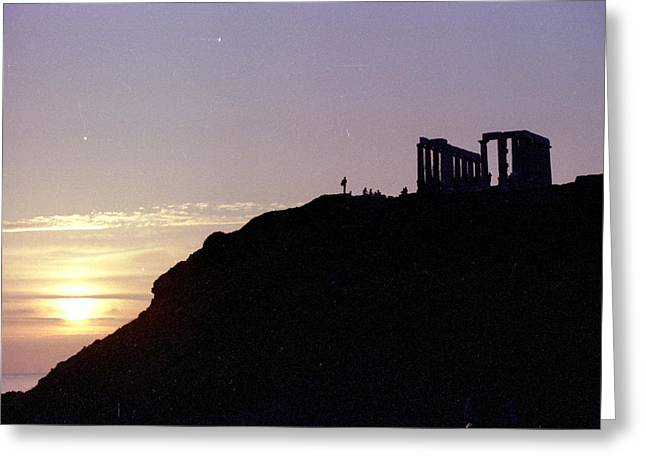 Sounion Greece Sunset Greeting Card by Mike McCool