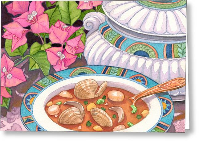 Soup And Bougainvillia Greeting Card by Tammy Yee