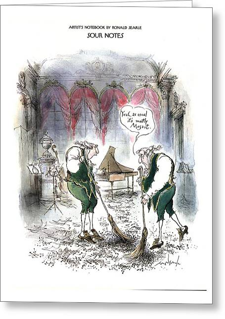 Sour Notes 'yeah Greeting Card by Ronald Searle