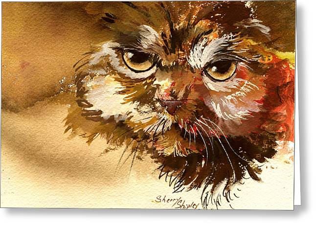 Sour Puss Greeting Card by Sherry Shipley