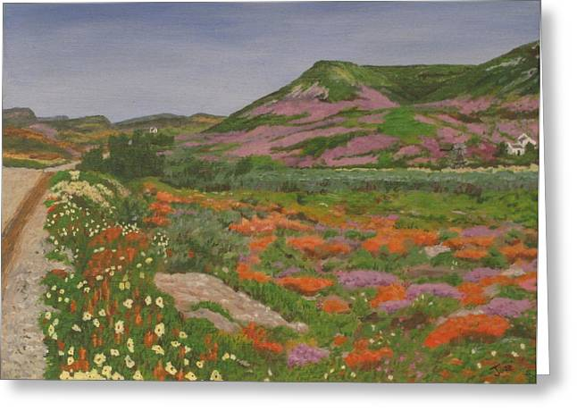 Greeting Card featuring the painting South African Grasslands by Hilda and Jose Garrancho