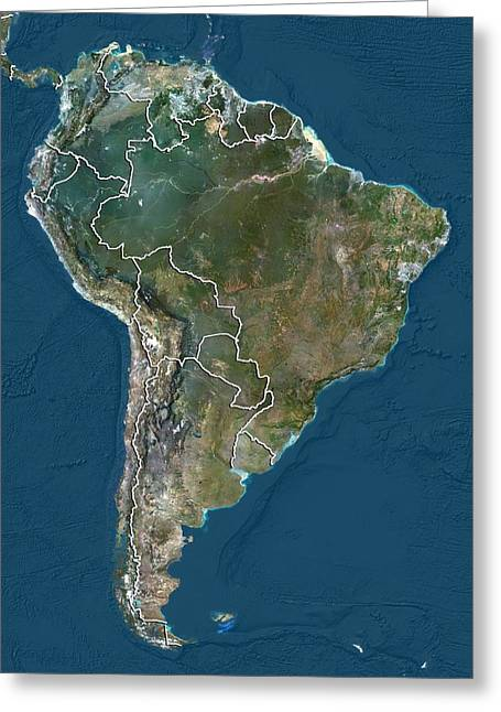 South America, Satellite Image Greeting Card by Science Photo Library