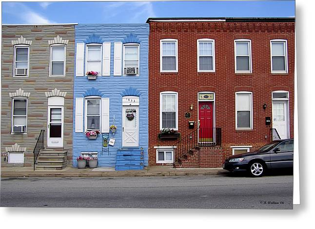 Greeting Card featuring the photograph South Baltimore Row Homes by Brian Wallace