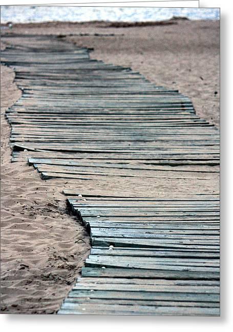 South Beach Boardwalk Greeting Card by Penny Hunt
