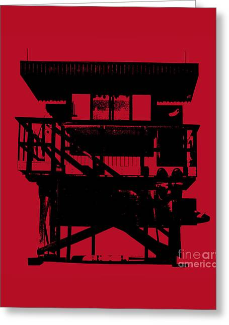 Greeting Card featuring the digital art South Beach Lifeguard Stand by Jean luc Comperat