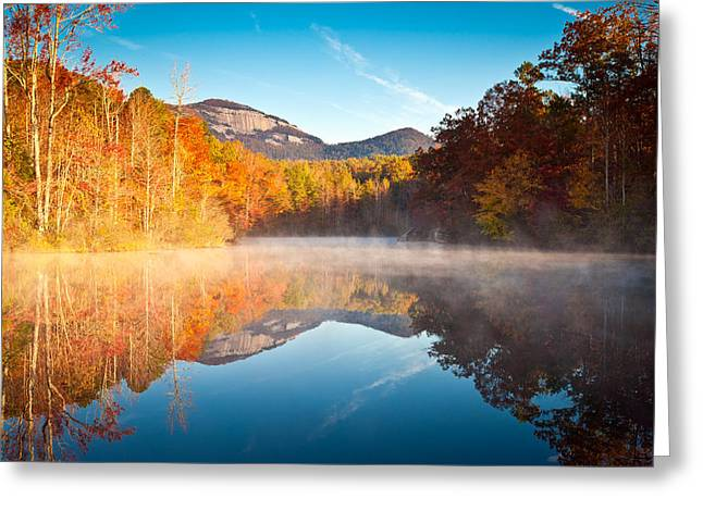 South Carolina Table Rock State Park Autumn Sunrise - Balance Greeting Card by Dave Allen