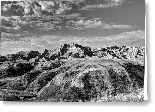 South Dakota Badlands 4 Bw Greeting Card by Mel Steinhauer