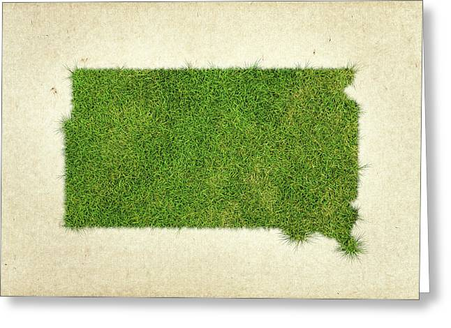 South Dakota Grass Map Greeting Card by Aged Pixel