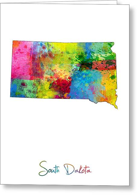 South Dakota Map Greeting Card by Michael Tompsett