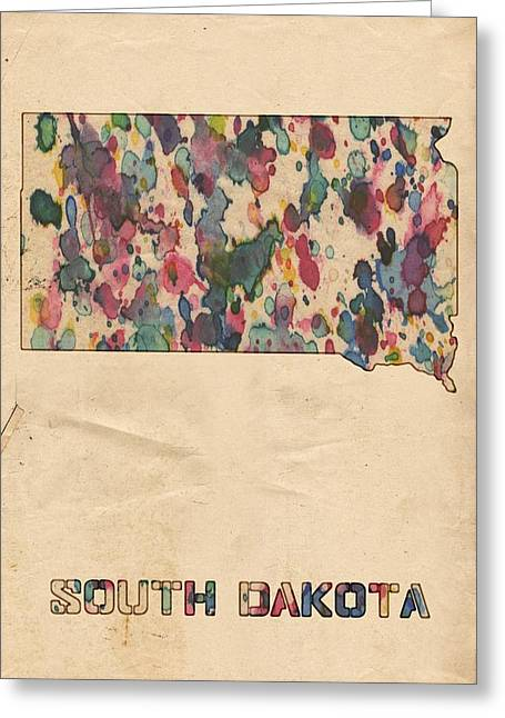South Dakota Map Vintage Watercolor Greeting Card by Florian Rodarte