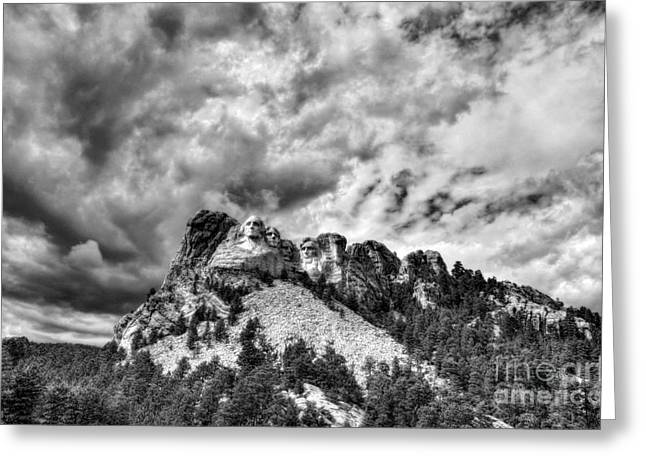 South Dakota Rocks Bw Greeting Card by Mel Steinhauer