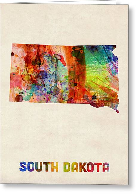 South Dakota Watercolor Map Greeting Card by Michael Tompsett