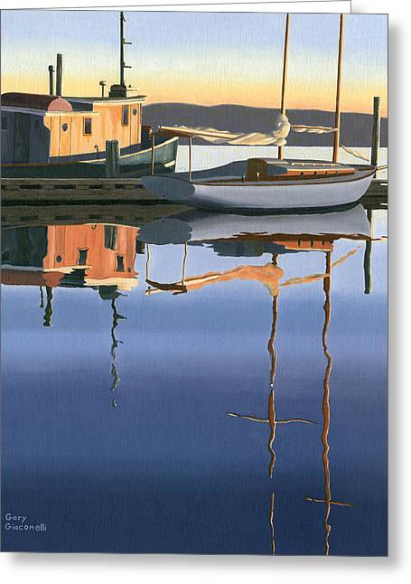 Greeting Card featuring the painting South Harbour Reflections by Gary Giacomelli