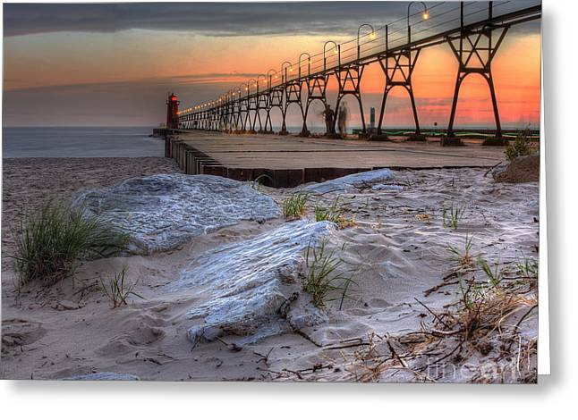 South Haven Beach And Lighthouse Greeting Card by Twenty Two North Photography
