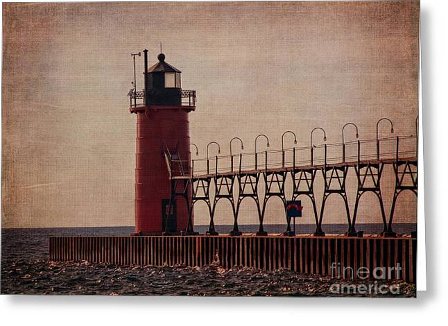 South Haven Lighthouse At Dusk Greeting Card