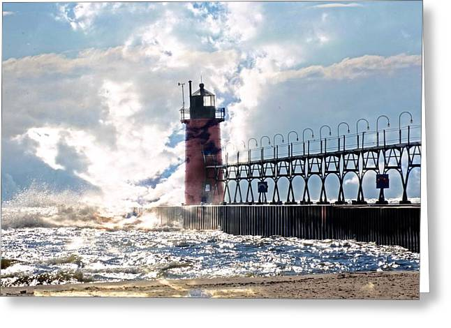 South Haven Lighthouse Greeting Card by Cheryl Cencich