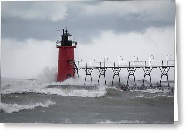 South Haven Pier Light In A Storm Greeting Card
