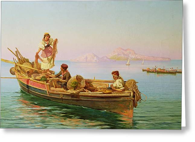 South Italian Fishing Scene Greeting Card by Pietro Barucci