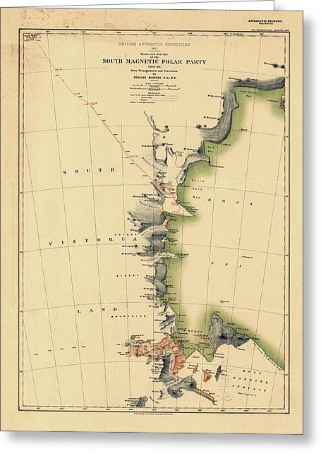 South Magnetic Polar Party Greeting Card by Library Of Congress, Geography And Map Division