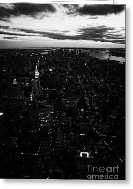 South Manhattan Skyline Night Evening New York City Greeting Card